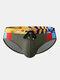メンズセクシープリントパッチワークドローストリングクイックドライスイムウェアブリーフ - アーミーグリーン