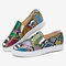 Women Plus Size Snake Pattern Comfy Slip On Flat Casual Shoes - Colorful