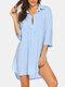 Robe de plage à ourlet haut-bas pour femme - bleu