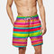 Mens Flag Print Board Shorts Funny Colorful Striped Loose Fishing Beach Shorts With Pockets - #02