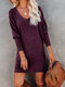 Solid Color O-neck Long Sleeve Plus Size Casual Dress for Women - Purple
