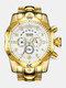 Large Dial Men Business Watch Multifunctional Luminous Calendar Waterproof Quartz Watch - White Dial Gold Band