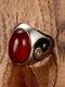 سبيكة خمر خاتم الخاتم القيل والقال خاتم أحجار كريمة بيضاوية الشكل - أحمر