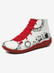 Christmas Pattern Comfort Splicing Zipper Ankle Casual Boots For Women - Red