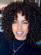 African Small Curly Wig Fluffy Explosive Head Middle-Length Curly Hair - Black