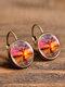 Vintage Glass Dangle Women Earrings Plant Flower Pattern Earrings Jewelry - #17
