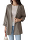 Casual Solid Color Lapel Long Sleeve Plus Size Jackets with Button - Grey