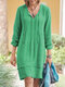 Solid Color Long Sleeve Bandage Casual Dress For Women - Green