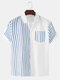 Mens Striped Patchwork Chest Pocket Short Sleeve Shirt - Blue