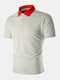Mens Two Tone Patchwork Casual Short Sleeve Golf Shirts - Gray