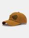 Unisex Cotton Broken Hole Letters Embroidery All-match Sunshade Baseball Cap - Orange Yellow