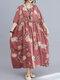 Abito vintage da donna allentato con scollo a mezza manica con stampa floreale - Rosa
