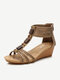 Women Wood Texture Button Decor Ankle Back Zipper Comfy Wearable Casual Wedges Sandals - Gold