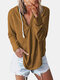 Casual Solid Color Drawstring V-neck Plus Size Hoodie for Women - Khaki