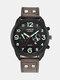 Fashion Leather Band Watches Mens Calendar Army Sports Quartz Watch - Coffee