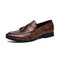 Mens Embossing Tassel Decor Comfy Wearable Casual Formal Dress Loafers - Brown