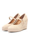 Women Pointed Toe Suede Solid Color Buckle Strap Single Wedges Shoes - Apricot