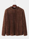 Mens Solid Color Plush Warm Thick Round Neck Pullover Sweatshirt - Coffee