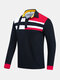 Mens Color Block Stitching 100% Cotton Long Sleeve Casual Golf Shirts - Navy