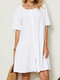 Solid O-neck Button Short Sleeve Casual Dress for Women - White