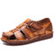Men Retro Cow Leather Non Slip Soft Sole Hook Loop Casual Sandals - Yellow