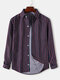 Mens Pinstripe Turn-Down Collar Loose Fit Light Casual Long Sleeve Shirts - Red