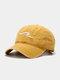 ユニセックス ウォッシュド オールド コットン 無地 3D 刺繍 サンシェード シンプル ベースボール キャップ - 黄