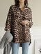 Leopard Printed Long Sleeve Stand Collar Asymmetrical Blouse For Women - Khaki