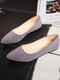 Women Pointed Toe Casual Solid Color Suede Comfortable Ballet Flats - Gray