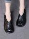 Женские повседневные ретро Soft удобные однотонные лоскутные туфли на платформе из свиной кожи - Черный