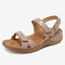 Women Stitching Soft Holiday Adjustable Hook Loop Beach Sandals - Apricot