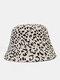 Women Cotton Leopard Pattern Print Patchwork Fashion All-match Sunscreen Bucket Hat - Beige