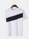 メンズ コントラスト パネル コットン スポーツ カジュアル ショート スリーブ T シャツ - 白い