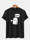 Mens Funny Cartoon Ghost O-neck Cotton Breathable T-shirts - Black