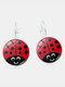 Vintage Seven-stars Ladybug Pattern Drop-shape Alloy Glass Sheet Earrings - #06