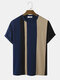 Mens Knitted Contrasting Color Stitching Short Sleeve T-Shirt - Navy