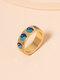 Vintage Yin Yang Bagua Circle-shape Alloy Rings - Blue