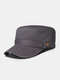 Men Cotton Solid Color Decorative Straps Stitching Breathable Casual Military Hat Flat Cap - Gray