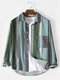 Mens Ethnic Style Print Striped Lapel Long Sleeve Shirt With Pocket - Green