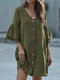 Loose Button V-neck 3/4 Length Sleeve Solid Color Casual Dress - Green