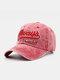 Hommes Coton Lavé Lettre Motif Patch Casquette De Baseball Pare-Soleil Extérieur Chapeaux Réglables - rouge