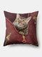 Personalized Zipper Cat Pattern Linen Cushion Cover Home Sofa Art Decor Throw Pillowcase - Red