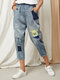 Cartoon Bear Embroidery Ripped Washed Patched Denim Elastic Waist Jeans - Blue