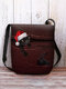 Women Felt Christmas Hat Cat Print Striped Crossbody Bag Shoulder Bag - Red
