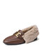 Women Casual Metal Decoration Warm Plush Lining Flanging Loafers Shoes - Dark Tan