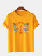 Mens Oriental Dragon Printed Cotton National Style Short Sleeve T-Shirts - Yellow