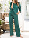 Plus Size Women Striped Loose Casual 3/4 Sleeve Pajama Sets - Green