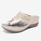 LOSTISY Hollow Out Flip Flops Cutout Holiday Beach Wedges Sandals - Beige