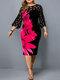 Flower Print Lace Contrast Plus Size Slim Fit Dress - Claret