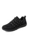 Women Casual Stripe Ribbon Non-slip And Wear-resistant Outdoors Sports Sneakers - Black